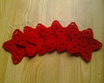 Red Crochet Star Ornaments