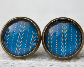 Blue Earrings,Blue and Beige, Vintage Style, Retro Earrings, Glass Dome Earrings, Small Studs, Stud Earrings, Post Earrings, Glass Cabochon