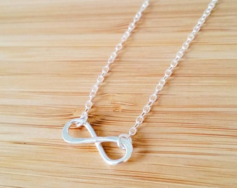 Handmade Sterling Silver infinity necklace; forever; delicate and dainty; bridesmaid, graduation, daughter necklace