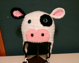 Children's cow hat with earflaps