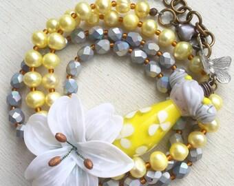 Doll wrap bracelet, pearl wrap  bracelet, yellow wrap bracelet, beaded wrap bracelet, boho, gift for her, uk shop, lilly bracelet