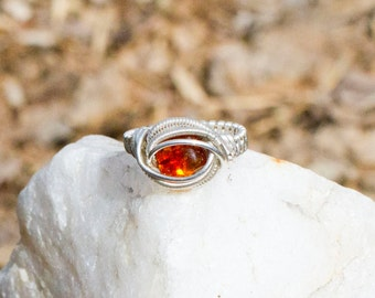 Amber wire wrapped ring sterling silver size 8
