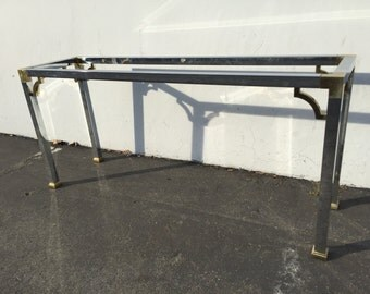 Console Table Sofa  Maison Jansen Attri Inspired Style Chrome Color Accent Mid Century Modern MCM Inspired Vintage Hollywood Regency Gold