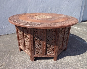 Perfect Anglo Indian Inlaid Carved Teak Table MCM Antique Tray Coffee Rustic  Primitive Wood Bohemian Boho Persian