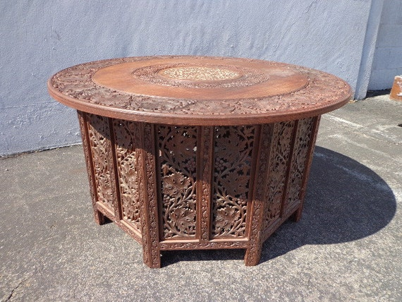 Anglo indian inlaid carved teak table mcm antique tray coffee for Indian carved coffee table