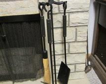 Vintage Black Wrought Iron FIREPLACE TOOL SET , shovel, brush,  poker and rack **