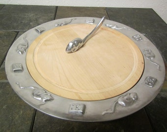 vintage 1993 MARIPOSA MOUSE and CHEESE  Platter with Maple insert and Mouse Spreader** pewter set