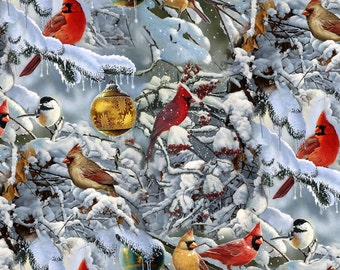 Digital Wildlife Birds Scenic Cardinals & the Tree Ornaments #5703 By the Yard