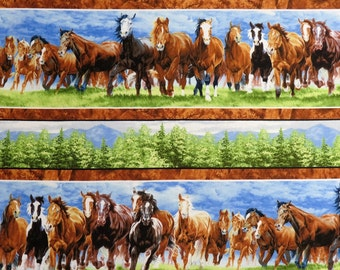 Wild at Heart Repeating Stripe Trees & Wild Horses Running #2257 By the Yard