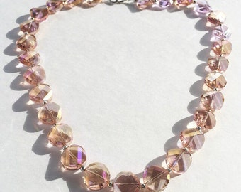Iridescent Pink Glass Necklace