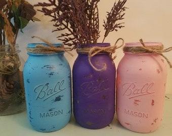 Distressed Purple, Blue, and Pink Mason Jar, Painted Mason Jar, Wedding, Baby Shower