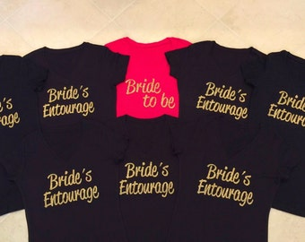 8 Brides Entourage Shirts. Bachelorette Party  Shirts. 8 bridesmaid T-Shirts. Matron of Honor. Bride to Be. Maid of Honor.