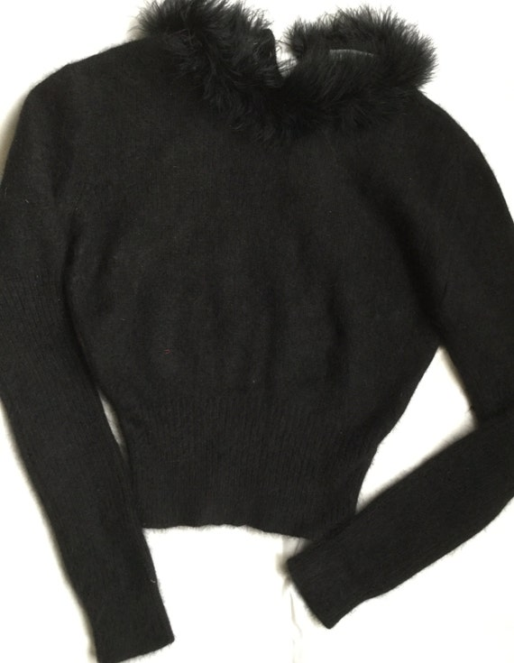 emporio armani sweater marabou feathers black jumper pullover. Black Bedroom Furniture Sets. Home Design Ideas