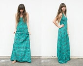 RESERVED 1970s Block Print Floral Indian Cotton Halter Dress | Turquoise Ethnic Maxi Dress | Boho Hippie Backless Festival Dress