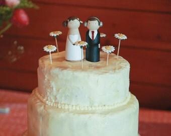 Custom personalised wooden wedding cake topper couple