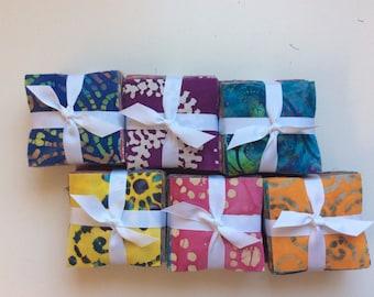 170 Assorted BATIK pre cut charm pack 3 1/2 inch  squares treat fabric quilt