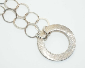 Vintage Sterling Silver Loops Bubbles Chain Textured Hoop Link Necklace-Estate Jewelry!