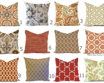 Outdoor Pillows or Indoor Cover Custom sizes include 16x16, 18x18 - Shades of Orange Rust Sienna Sand Brown Tan Khaki  Modern Geometric