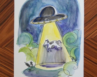 Flying saucer and cow Original watercolor illustration