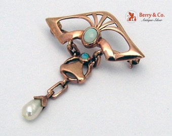 SaLe! sALe! Jugendstil Art Nouveau Brooch 10 K Rose Gold White Opals Baroque Pearl