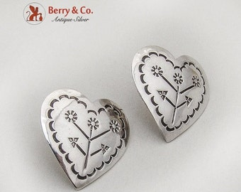 SaLe! sALe! Mexican Engraved Heart Post Earrings Sterling Silver