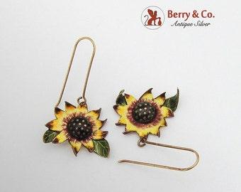 SaLe! sALe! Vintage Sunflower Dangle Earrings Sterling Silver Enamel