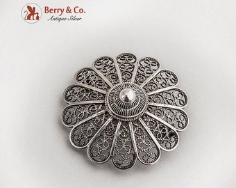 SaLe! sALe! Vintage Filigree Flower Brooch Sterling Silver
