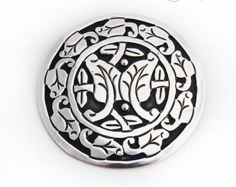 Large Round Foliate Brooch Pendant Cut Work Overlay Sterling Silver
