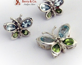 Butterfly Pendant Earrings Sterling Silver Topaz Peridot