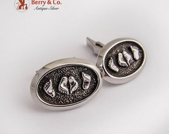Modern Oval Feet Cufflinks Sterling Silver