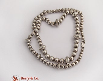 Vintage Graduated Bead Necklace Sterling Silver