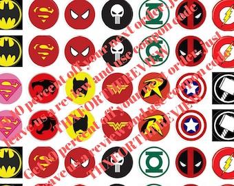 Marvel DC Superhero Bottle Cap Cabochon Bubble Images Printable Instant Download
