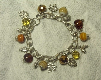 "Cynthia Lynn ""HARVEST"" Thanksgiving Fall Leaf Acorns Pine Cones Silver Charm Bracelet"