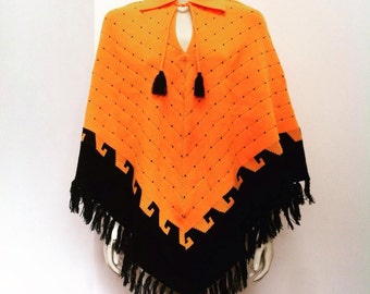 60's vintage neon orange black fringed poncho