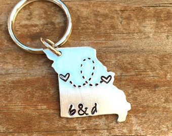 ANY STATE, Missouri with Custom Phrase - Long Distance Relationship Keychain