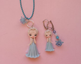 necklace and earrings Elsa in fimo, polymer clay
