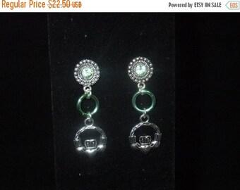 ON SALE Jeweled Green Claddagh Stud Earrings