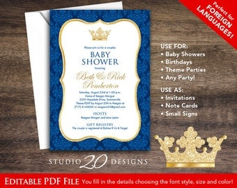 5x7 Prince Baby Shower Invitations Editable Pdf, DIY Printable Royal Blue  Gold Glitter Shower Invites