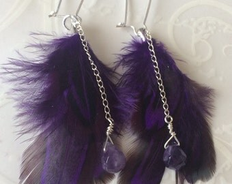 Amethyst and purple feather earrings