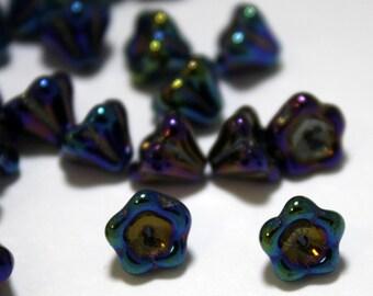 25 Czech Glass Bell Flower Beads in Iris Blue - 8 x 6 mm