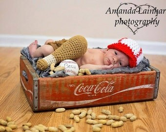 Crochet baseball hat and bat, baseball hat, newborn-3 months, baseball bat, crochet photo prop, crochet sports prop, photography prop