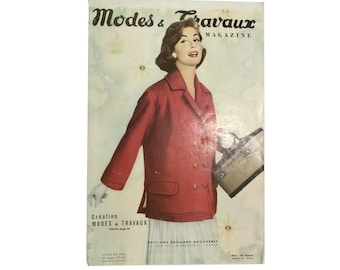 Modes & Travaux, Vintage summer French fashion magazine,  1956 fashion news