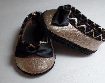 """Gold and Black -Mary Jane-- Doll Shoes--   for 18"""" American Girl--Shown on my american girl doll"""