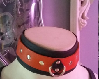 Choker Collar Black and Orange Leather Restraint Choker with a Silver D Ring
