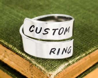 Personalized Wrap Ring - Custom Adjustable Aluminum Ring - Custom Twist Ring - Silver Ring