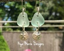 Sea glass earrings, seafoam sea glass earrings, coca cola sea glass, ocean earrings, silver sand dollar earrings