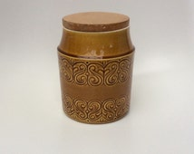 Vintage kitchen storage jar Shannon Pottery Ireland ochre saffron wooden lid canister Celtic pottery design