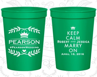 Keep Calm and Marry On Cups, Wedding  Party Cups, Royal Wedding, Floral Wedding Cups, Romantic Wedding, Plastic Cups (598)