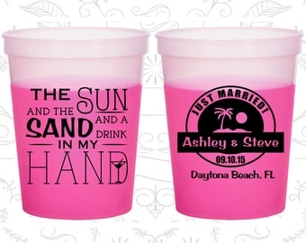 The Sun and the Sand and a Drink in my Hand, Promotional Color Changing Cups, Beach Wedding, Tropical Wedding, Magenta Mood Cups (507)