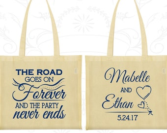 The Road Goes on Forever and the Party Never Ends, Wedding Favor Large Tote Bags, Romantic Wedding, Fairy Tale Bags, Wedding Tote Bags (479)
